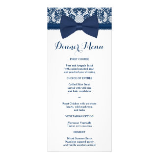 Navy Blue & White Lace Bow Slim Dinner Menu