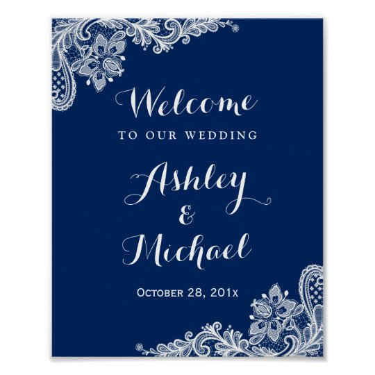 Navy Blue White Lace Wedding Reception Sign Poster