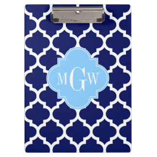 Navy Blue White LG Chevron Sky Blue Name Monogram Clipboard