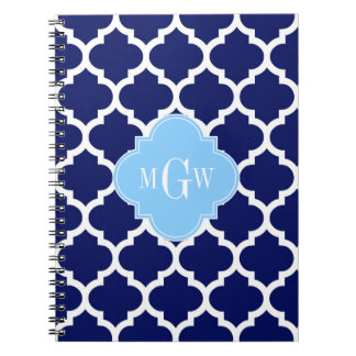 Navy Blue White LG Chevron Sky Blue Name Monogram Notebook