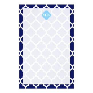 Navy Blue White LG Chevron Sky Blue Name Monogram Personalized Stationery