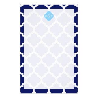 Navy Blue White LG Chevron Sky Blue Name Monogram Stationery