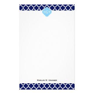 Navy Blue White LG Chevron Sky Blue Name Monogram Stationery Design