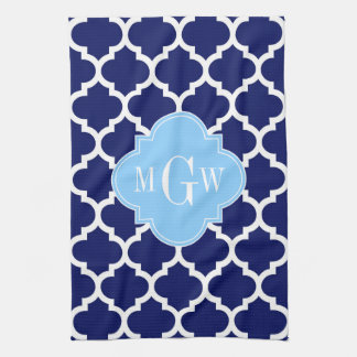 Navy Blue White LG Chevron Sky Blue Name Monogram Tea Towel