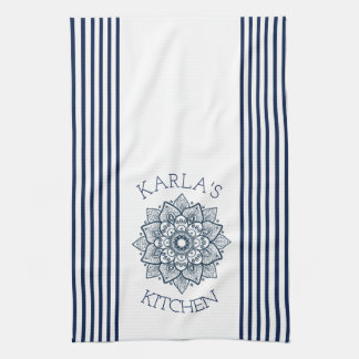 Navy Blue & White Mandala And Stripes Combination Kitchen Towels