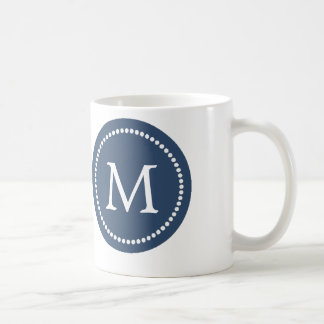 Navy Blue - White Monogram Ceramic Mug