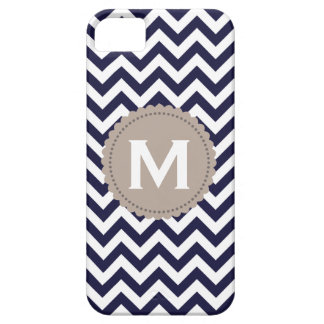 Navy Blue White Monogram Chevron Pattern iPhone 5 Cases