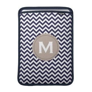 Navy Blue White Monogram Chevron Pattern Sleeves For MacBook Air