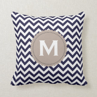 Navy Blue White Monogram Chevron Pattern Throw Pillow