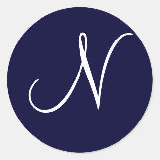 """Navy Blue & White Monogram Initial """"N"""" Round Sticker"""