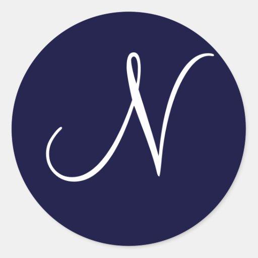 "Navy Blue & White Monogram Initial ""N"" Round Stickers"
