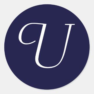 """Navy Blue & White Monogram Initial Seal """"U"""" Round Sticker"""