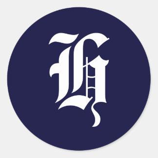 """Navy Blue & White Monogram Initial Seals """"H"""" Round Sticker"""