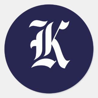 """Navy Blue & White Monogram Initial Seals """"K"""" Round Sticker"""