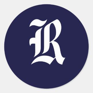"""Navy Blue & White Monogram Initial Seals """"R"""" Round Sticker"""