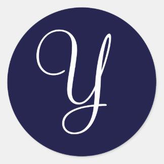 """Navy Blue & White Monogram Initial Seals """"Y"""""""" Round Sticker"""