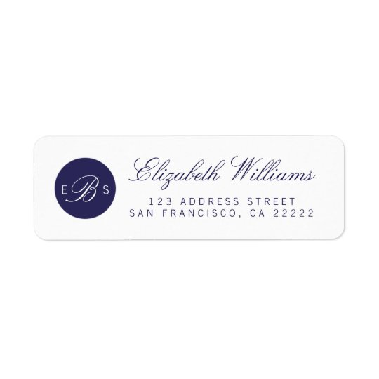 Navy Blue White Monogram Return Address Labels