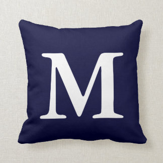 Navy Blue White Monogrammed M Throw Pillow