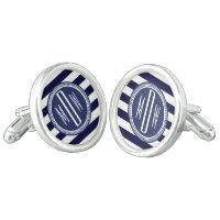 Navy Blue White Monogrammed Stripe Personalized Cufflinks