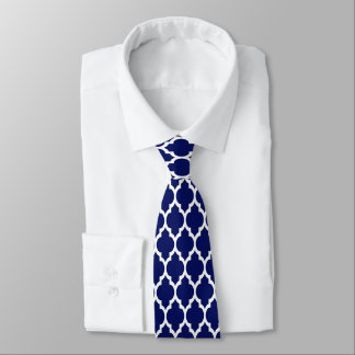Navy Blue White Moroccan Quatrefoil Pattern #4 Tie