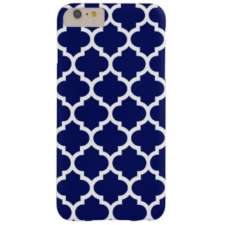 Navy Blue White Moroccan Quatrefoil Pattern #5 Barely There iPhone 6 Plus Case