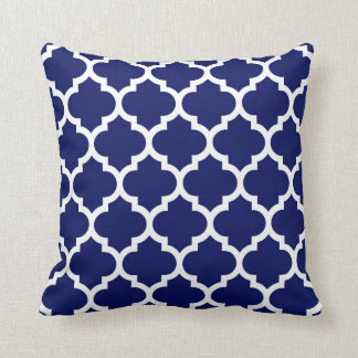 Navy Blue White Moroccan Quatrefoil Pattern #5 Cushion