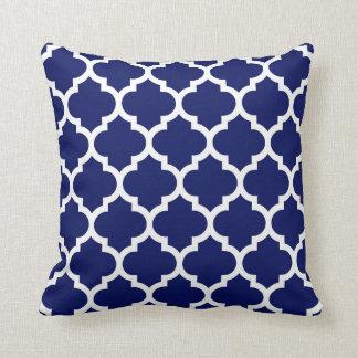 Navy Blue White Moroccan Quatrefoil Pattern #5 Cushion