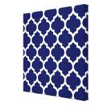 Navy Blue White Moroccan Quatrefoil Pattern #5 Gallery Wrapped Canvas