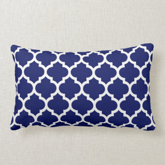 Navy Blue White Moroccan Quatrefoil Pattern #5 Lumbar Cushion
