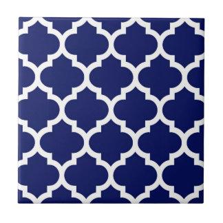 Navy Blue White Moroccan Quatrefoil Pattern #5 Small Square Tile