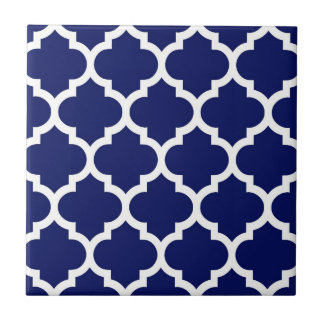 Navy Blue White Moroccan Quatrefoil Pattern #5 Tile