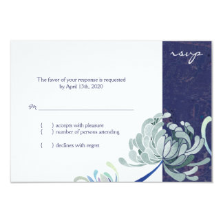 Navy Blue & White Mum Floral Wedding RSVP Card
