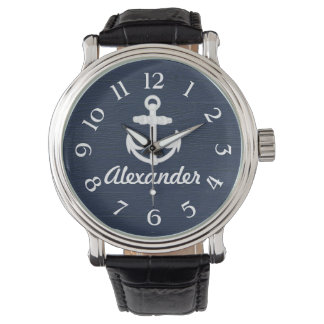 Navy Blue/White Nautical Anchor Custom Watch
