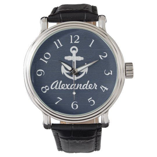 Navy Blue/White Nautical Anchor Custom Watch