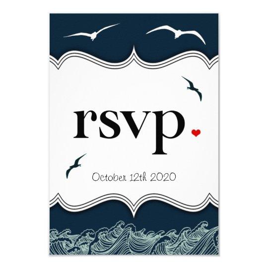Navy Blue & White Nautical Wedding RSVP Cards