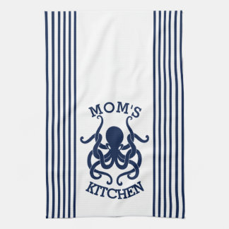 Navy Blue & White Octopus And Stripes Combination Towel