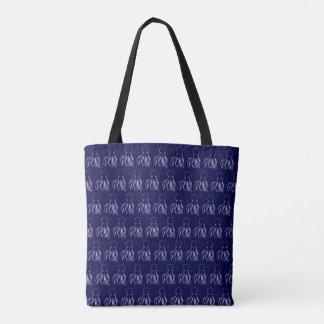 Navy Blue & White Octopus Pattern Tote Bag