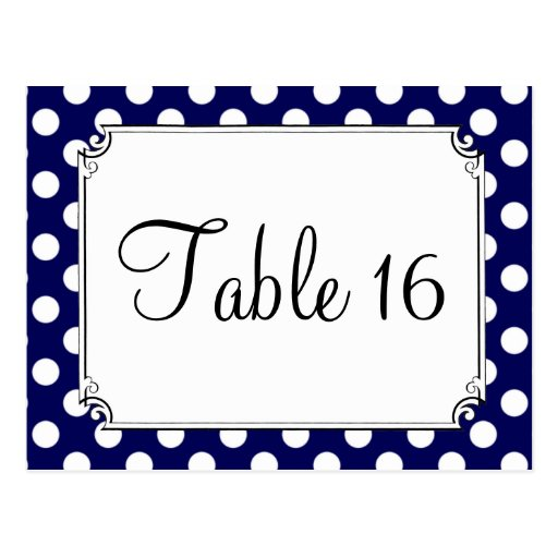 Navy Blue & White Polka Dot Wedding Table Numbers Post Card
