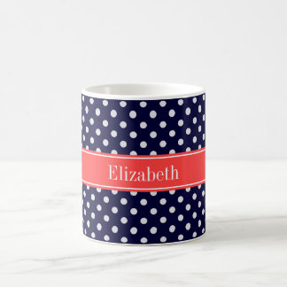 Navy Blue White Polka Dots Coral Name Monogram Coffee Mug
