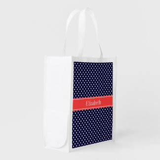 Navy Blue White Polka Dots Coral Name Monogram Reusable Grocery Bag