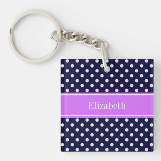 Navy Blue White Polka Dots Lilac Name Monogram Key Ring