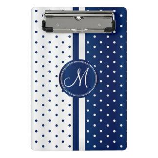Navy Blue & White Polka Dots - Monogram Mini Clipboard