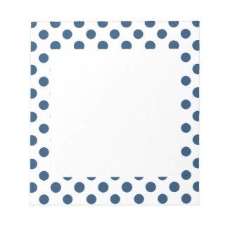 Navy Blue White Polka Dots Pattern Notepads