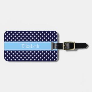 Navy Blue White Polka Dots Sky Blue Name Monogram Bag Tag