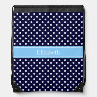 Navy Blue White Polka Dots Sky Blue Name Monogram Drawstring Bag