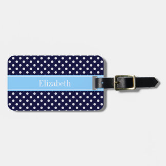 Navy Blue White Polka Dots Sky Blue Name Monogram Luggage Tag