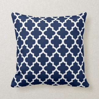 Navy Blue & White Quatrefoil Design   DIY Color Cushion