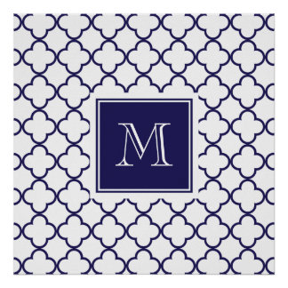 Navy Blue, White Quatrefoil Monogram Large Poster