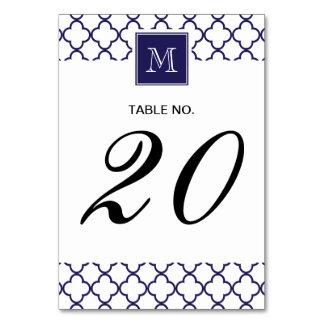 Navy Blue, White Quatrefoil | Your Monogram Card