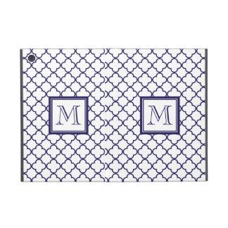 Navy Blue, White Quatrefoil   Your Monogram Covers For iPad Mini